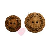 Bonfanti runder 2-Loch Kokosknopf mit feinem Schmuckornament (2 Größen)