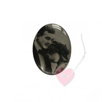 """Bonfanti Schmuckknopf """"Paar"""" 29mm - Kunststoff-Knopf mit Öse mit antikem Foto"""