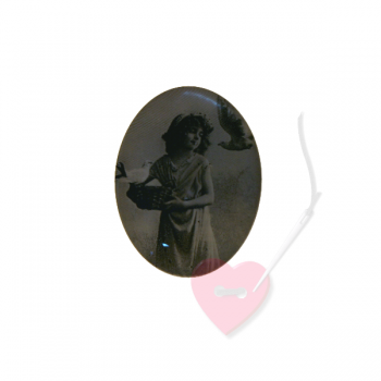 "Bonfanti Schmuckknopf ""Mädchenbild"" 29mm - Kunststoff-Knopf mit Öse mit antikem Mädchenfoto"