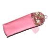 Schönes Etui aus rosafarbenem Wollfilz mit Blümchenfutter - für Brille, Stifte oder Stricknadeln - Rückseitenansicht