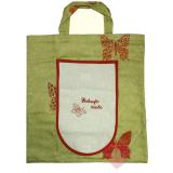 Handgenähte, faltbare Einkaufstasche - Brezen-Beutel mit Schmetterling