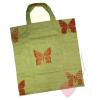 Handgenähte, faltbare Einkaufstasche - Brezen-Beutel mit Schmetterling Rückseite
