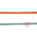 farbenmix schmales Webband Sternchen orange-türkis 7mm beidseitig