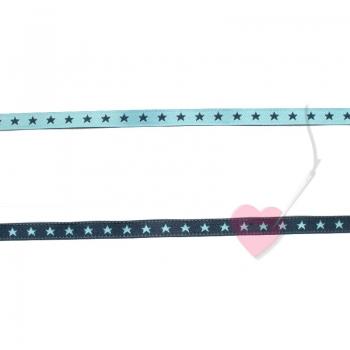 farbenmix schmales Webband Sternchen hellblau-marine 7mm beidseitig