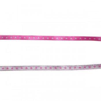 farbenmix schmales Webband Sternchen pink-silber 7mm - beidseitig