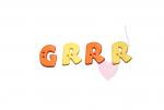 """Buchstabenhits für Kids 18mm - 2-Loch Knopf    """"R   """" Beispielbild    """"Grrr   """""""