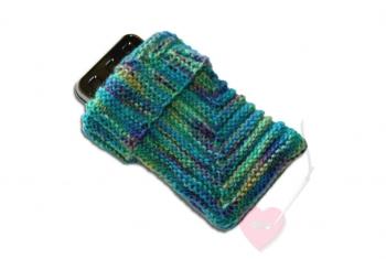 "Handgestrickte Handy- oder MP3-Player-Socke ""Im Quadrat"""