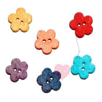 Jim Knopf - Keramik-Blume - 2-Loch Blütenknopf 16mm