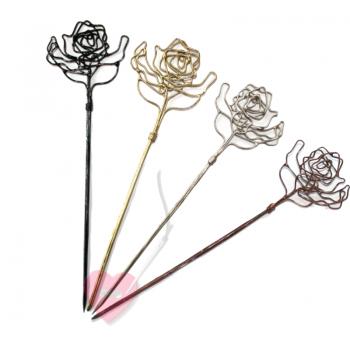 "Jim Knopf - kunstvolle Draht-Schalnadel ""Rose"""