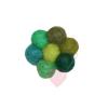 Jim Knopf - Filzblume multicolor Ø32mm - farbenfrohe Filzblüte in grüntönen