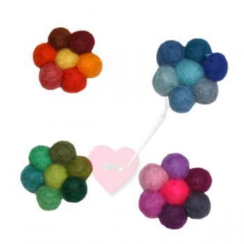 Jim Knopf - Filzblume multicolor Ø32mm - bunte Filzblüte