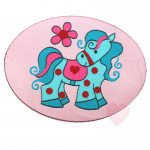 Janeas World Webetikett - Pony Lou zum aufnähen rosa