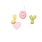 """Buchstabenhits für Kids 18mm - 2-Loch Knopf  """"J """" Beispielbild  """"Joy """""""