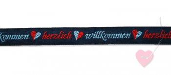 """Jacquard - Webband """"Herzlich Willkommen"""" 15mm"""