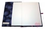Handgenähte Notiz- und Tagebuchhülle mit kleiner Libelle - Notizbuch in A5 aufgeklappt
