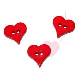 Herzchenknopf 18mm - 2-Loch Knopf glänzend in fünf schönen Farben