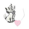 Kätzchenknopf 23mm - Katzen-Knopf mit Öse matt weiß