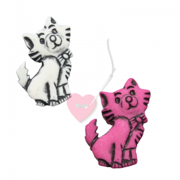 Kätzchenknopf 23mm - Katzen-Knopf mit Öse matt