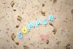"""Buchstabenhits für Kids 18mm - 2-Loch Knopf  """"M """" Beispielbild  """"Sommer """""""