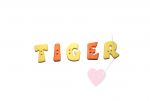 """Buchstabenhits für Kids 18mm - 2-Loch Knopf  """"T """" Beispielbild  """"Tiger """""""