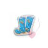 Tante Ema - Aufnäher Gummistiefel zum aufbügeln und annähen blau-beige