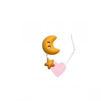 Mond mit Sternchen - 2-Loch Knopf mit Wackelsternchen
