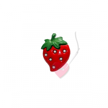 Erdbeer-Knopf 25mm - Knopf mit Öse