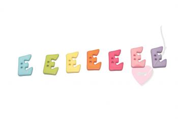 """Buchstabenhits für Kids 18mm - 2-Loch Knopf """"E"""""""
