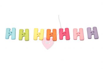 """Buchstabenhits für Kids 18mm - 2-Loch Knopf """"H"""""""