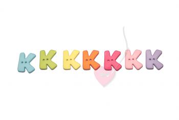 """Buchstabenhits für Kids 18mm - 2-Loch Knopf """"K"""""""