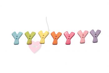 """Buchstabenhits für Kids 18mm - 2-Loch Knopf """"Y"""""""