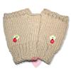Fingerlose Handschuhe mit Glückskäferchen aus warmem Kaschmirgarn
