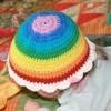 """Sommerliche Baby-Mütze  """"Regenbogenfee """" aus Baumwolle und Kapok"""