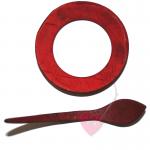 Runde Schalschließe aus Kokos in der Farbe rot
