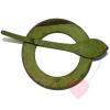 Runde Schalschließe aus Kokos in der Farbe lindgrün