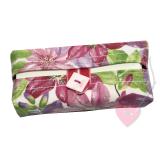 Blumiges Tatüta - handgenähte Taschentüchertasche mit Perlmuttknopf